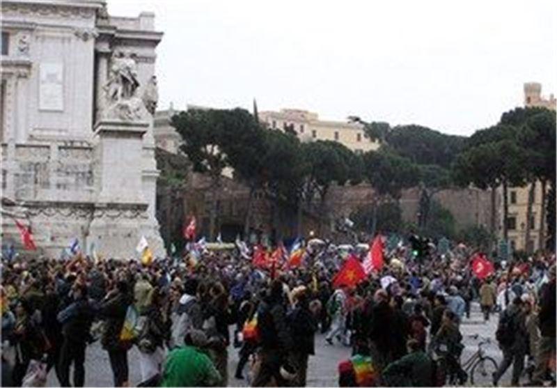 دانش آموزان علیه سیاست های اقتصادی دولت رم تجمع کردند