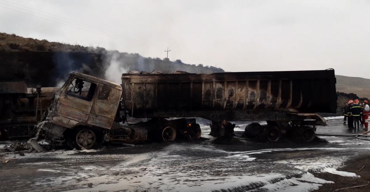 تصادف مرگبار دو کامیون حامل سوخت در شهرستان اسکو